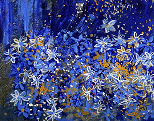 006 Garden (2013-006 Blue Daisy Sparkle Garden with Stars, 20 x 16)