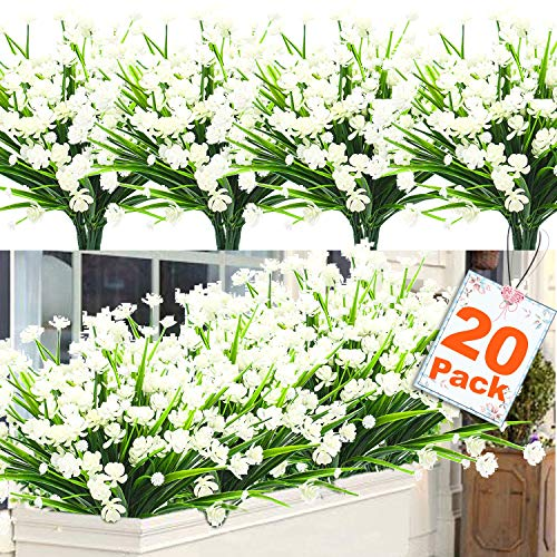 20 Bundles Artificial Flowers for Outdoor Decoration, UV Resistant Faux Outdoor Plastic Greenery Shrubs Plants Artificial Fake Flowers Hanging Planter Kitchen Home Wedding Office Garden Decor (White) (Plastic Flowers Outdoor)