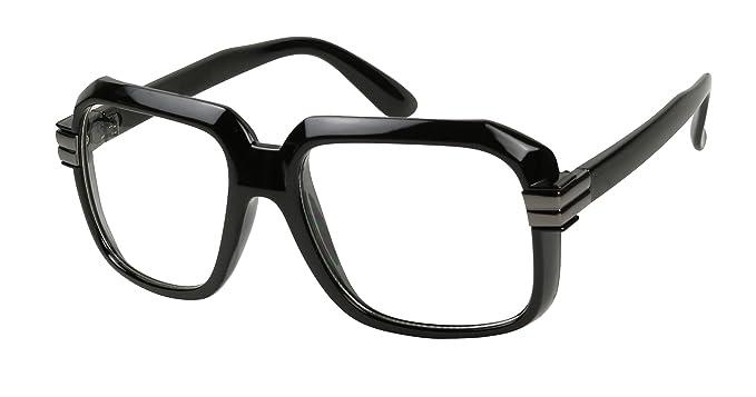 047b95fc8fca Basik Eyewear - Big Hipster Retro 80 s MC Rapper Clear Lens Hip Hop Eye  Glasses (