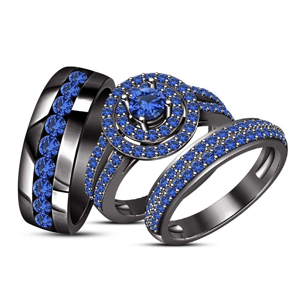 TVS-JEWELS Black Rhodium Plated 925 Silver Wedding Bands Ring Set for Him and Her Men Women