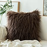 MIULEE Decorative New Luxury Series Style Chocolate Faux Fur Throw Pillow Case Cushion Cover for Sofa Bedroom Car 20 x 20 Inch 50 x 50 cm