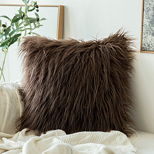 MIULEE Decorative New Luxury Series Style Chocolate Faux Fur Throw Pillow Case Cushion Cover for Sofa Bedroom Car 24 x 24 Inch 60 x 60 cm
