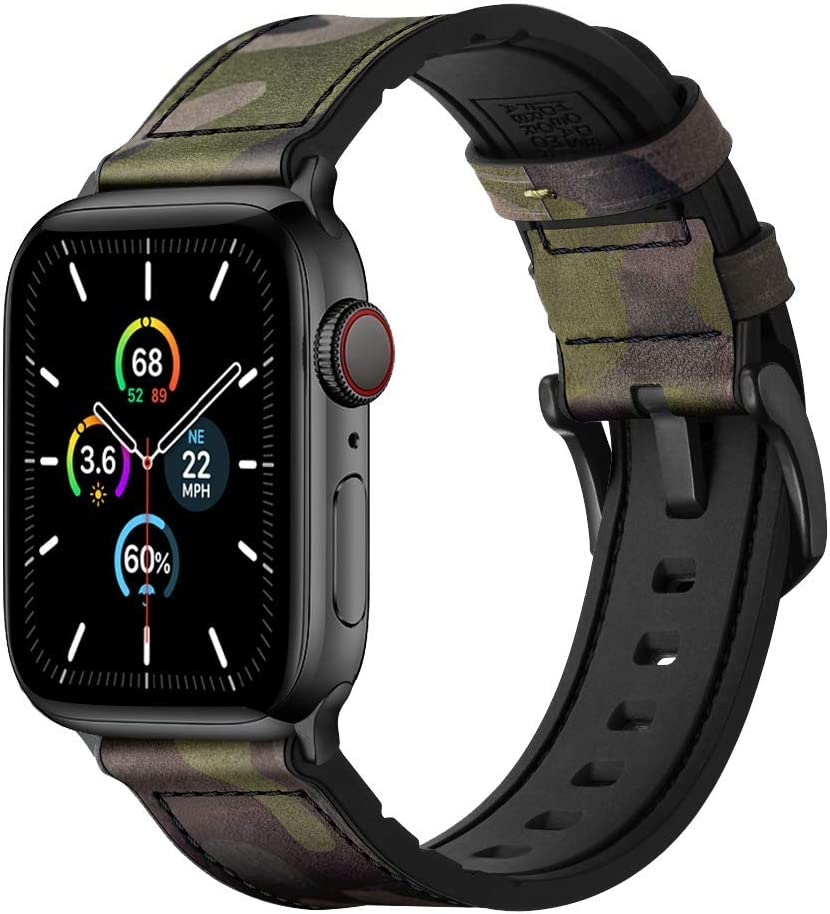 Mifa [Upgraded] Compatible w/ Apple Watch Band 44mm 42mm Series 6 SE 5 4 3 Rugged Hybrid Sports Leather Vintage Dressy Bands Dark Replacement Straps Sweatproof iwatch Nike Space Black Camou