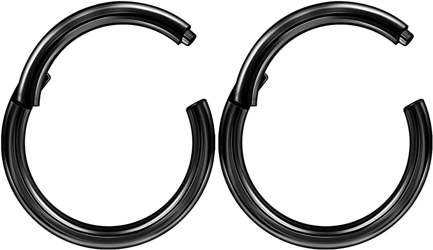 Comes in 6mm,8mm or 10mm 16g Black Septum Ring Daith Piercing Helix Hinged Clicker..Black PVD Over 316L Surgical Steel