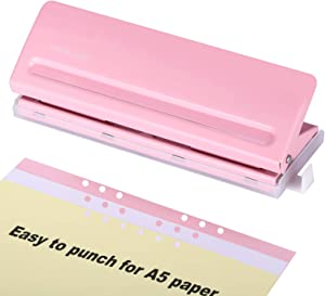 WORKLION Adjustable 6 Hole Punch: Metal Six Hole Puncher for Planners and 6-Ring Binders with 6 Sheet Capacity for A4 / A5 / A6 / Personal/Pocket Size (Pink)