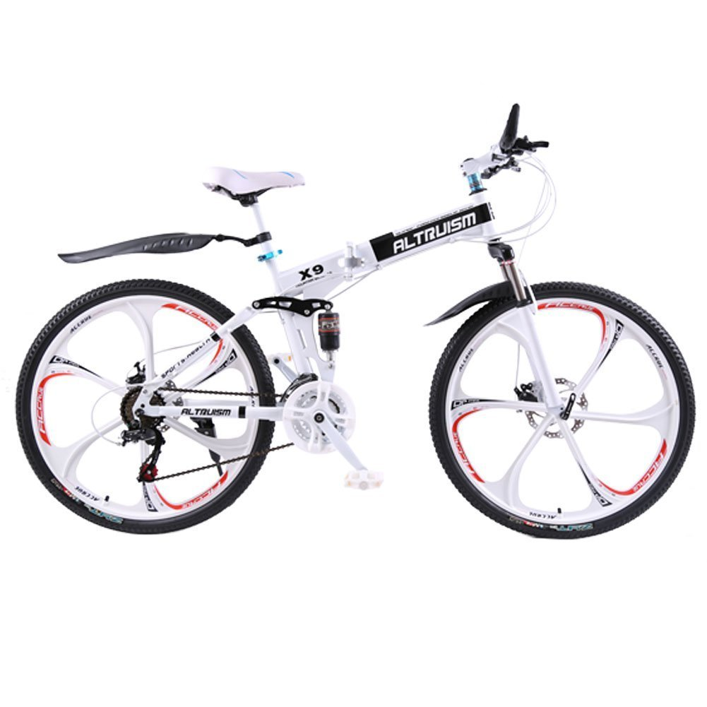 Altruism X9 マウンテンバイク 折り畳み式 26インチ タイヤ シマノ21段変速 ロードバイク 泥除け 軽量 アルミニウム合金 B01JNWMVSE白