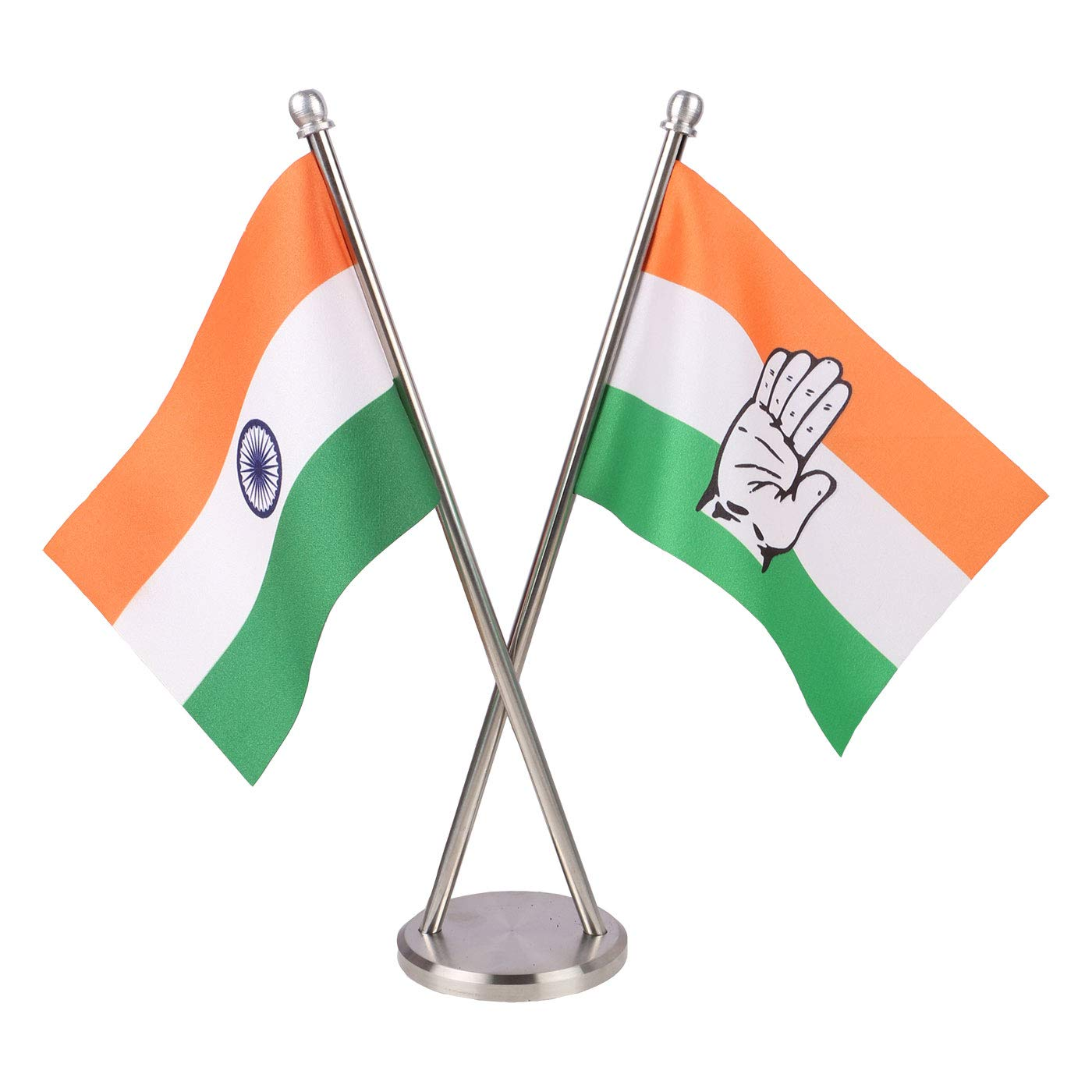 The Flag Shop India Indian National Congress Party Inc Miniature Criss Cross Table Flags With An Elegant Stainless Steel Base Amazon In Home Kitchen