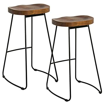 Amazing Yaheetech Wooden Bar Stools Vintage Rustic Kitchen Pub Stools Set Industrial Kitchen Counter Barstools Set Of 2 Beutiful Home Inspiration Aditmahrainfo