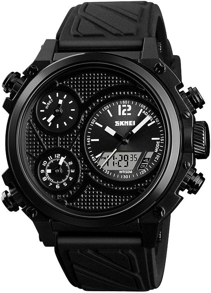 Men s Big Face 5 Time Zone Time Alarm Chrono EL Light Three Analog Dials Watch LCD Display Sport Digital Wrist Watch