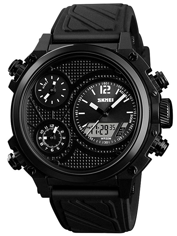 Men s Big Face 5 Time Zone Time Alarm Chrono EL Light Three Analog Dials Watch LCD Display Sport Digital Wrist Watch