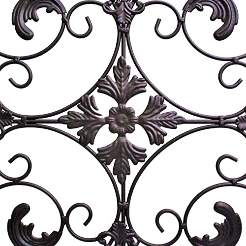 GB HOME COLLECTION Metal Wall Decor, Decorative Victorian Style Hanging Art, Steel Decor, Window Arch Design, 16.5 x 41.5 Inches, Espresso Brown