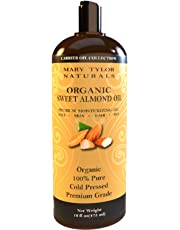 Sweet Almond Oil 16 oz (473 ml), By Mary Tylor Naturals, Premium Grade, Cold Pressed, 100% Pure, Amazing Moisturizer for Skin Best Carrier oil for all Your DIY Projects Great as Baby Oil