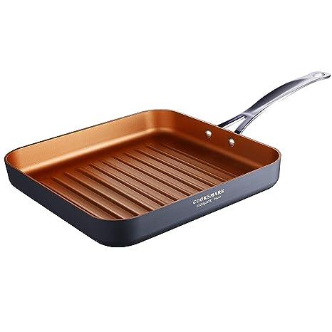 COOKSMARK Sartén Parrilla Antiadherente Sartén Grill con Rayas 26cm con Mango de Acero Inoxidable Sartén Plancha