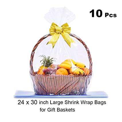 Lazyme Clear Basket Cellophane Bags Shrink Wrap Bags For Gift Basket 24 X 30 Inch Thick 2 5mil 10 Pieces