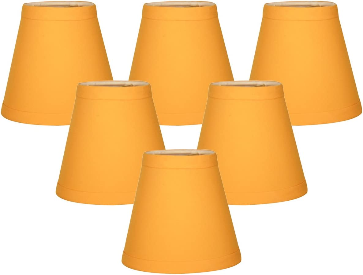 Royal Designs CS-1003-5YEL-6 Clip On Empire Chandelier Lamp Shade, 3 x 5 x 4.5 , Yellow, Set of 6