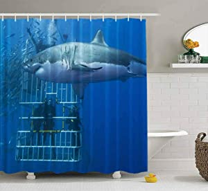 Tooperue Baby Shower Curtain Kids Christmas, Shower Curtain for Bathroom with Hooks Great White Shark in Front of Diving Cage with Scuba a Divers 72×72 Inch,Eco-Friendly,No Oder,Waterproof