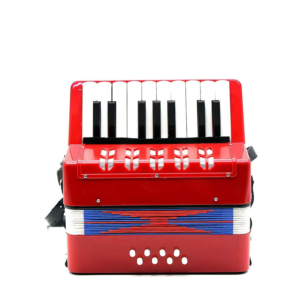 Accordion, Solo And Ensemble Kids Piano Accordion 17 Keys 8 Bass With Straps Music Instruments For Beginners Students Small Size Educational Instrument Band Toy Children's Gift Musical Toy Instruments