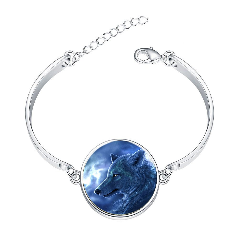 Adjustable Silver Bracelets Blue Cruel WolfHand Chain Link Bracelet Clear Bangle Custom Glass Cabochon Charm