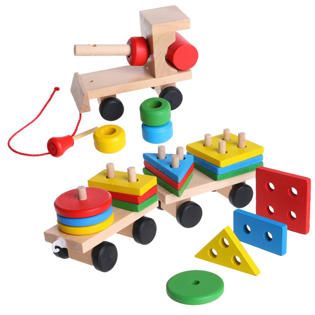 Junlinto Kids Baby Developmental Toys Wooden Train Truck Geometric Blocks Educational Toy