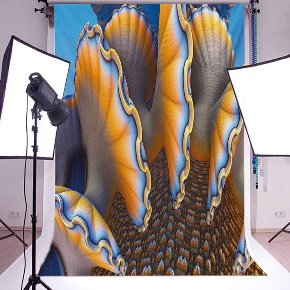 Nautical 10x12 FT Backdrop Photographers,Fantastic Shells in The Sea Ocean Sci Fi Style Featured Artistic Graphic Background for Party Home Decor Outdoorsy Theme Vinyl Shoot Props Blue and Apricot