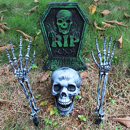 MeiGuiSha Halloween Real Looking Skull and Skeleton Arms by Spooktacular Creations for Halloween Yard Decorations (Tombstone Decorations Yard)