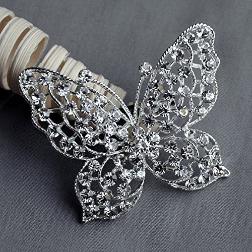 Butterfly Rhinestone Brooch Embellishment Crystal Pearl Wedding Brooch Bouquet Cake Invitation Decoration Hair Comb Clip - Butterfly Brooch Pearl