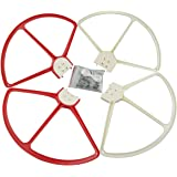 Fytoo 4PCS Propeller Guard Pros Protector for DJI Phantom 3 Phantom 2 Phantom 1 4K Advanced Professional Standard RC Quadcopter Nap on/off Propeller Guards Spare Parts Red and White