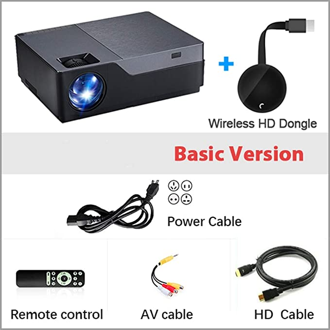 WHLDCD Proyector Full HD Projector M18UP, 1920x1080P, Android 6.0 ...