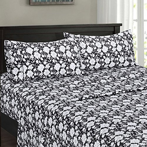 Ultra Soft & Exquisitely Smooth Genuine 100% Plush Cotton Floral Agnes Percale 300TC Sheet Set, 4 Piece Full Size Deep Pocket Sheet Set, Black/White