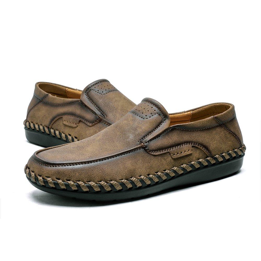 Beiläufige MüßiggängerFlache Schuhe Der Männer Beleg Auf Formaler GeschäftsArbeit Bequeme Mokassins HandnahtRutschfeste Gehende Treibende BootsSchuhe Breitere Passende Leichte Runde ZeheSommerSandelholze Brown 41