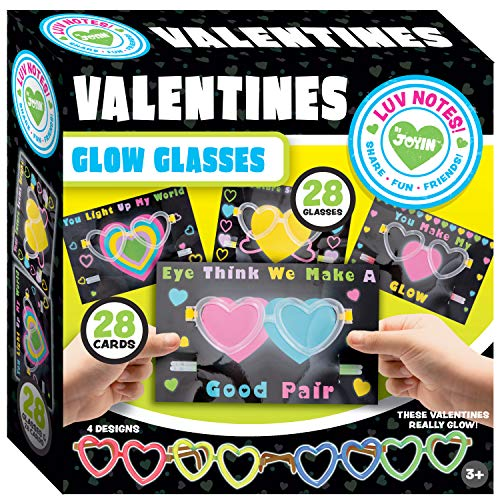 JOYIN 28 Packs Cards for Kids with Heart Shaped Glasses and Light-up Glow Sticks Valentine Classroom Exchange Party Favor -