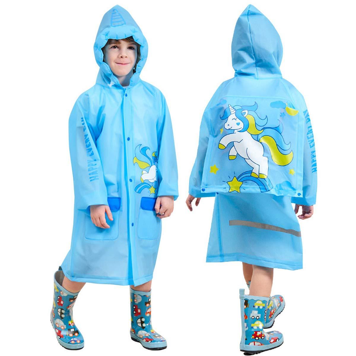 Slyfairy Kids Unicorn Raincoat Girls Boys Reusable Hooded Rainwear Cover Rain Jacket