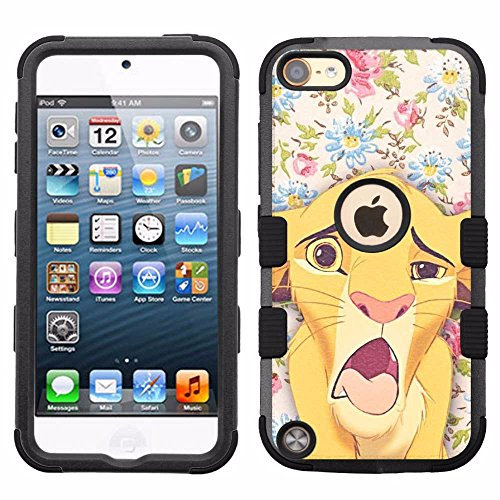 for iPod Touch 5/6, Hard+Rubber Dual Layer Hybrid Heavy-Duty Rugged Armor Cover Case - Lion King Simba #FW (Touch Case Lion King 5 Ipod)