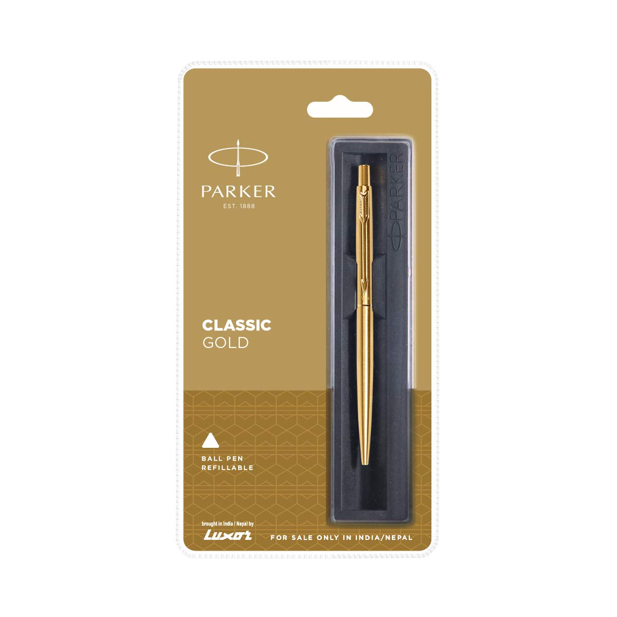 New Gold Trim Blue Ink Parker Classic Jotter Matte Brown GT Ball Point Pen