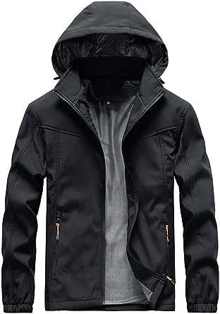 FEDULK Mens Sportwear Outdoor Jacket Hoodies Lightweight Zipper Breathable Waterproof Rain Coat Outwear