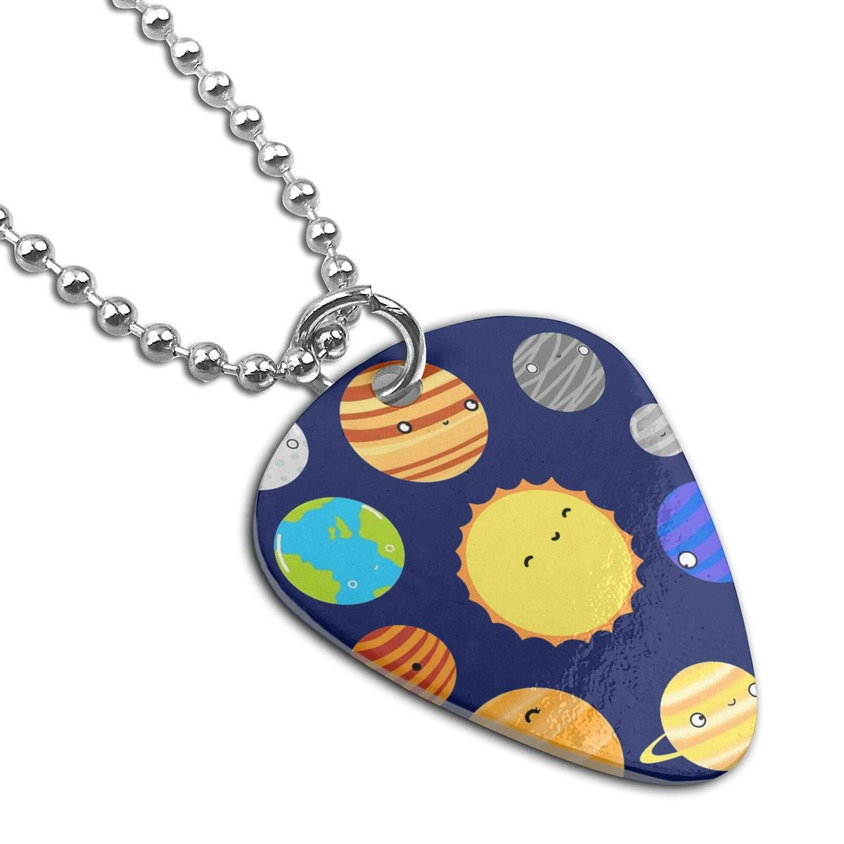 Solar System Planet Guitar Pick Necklace Unique Custom Fashion Pet Card Keychain