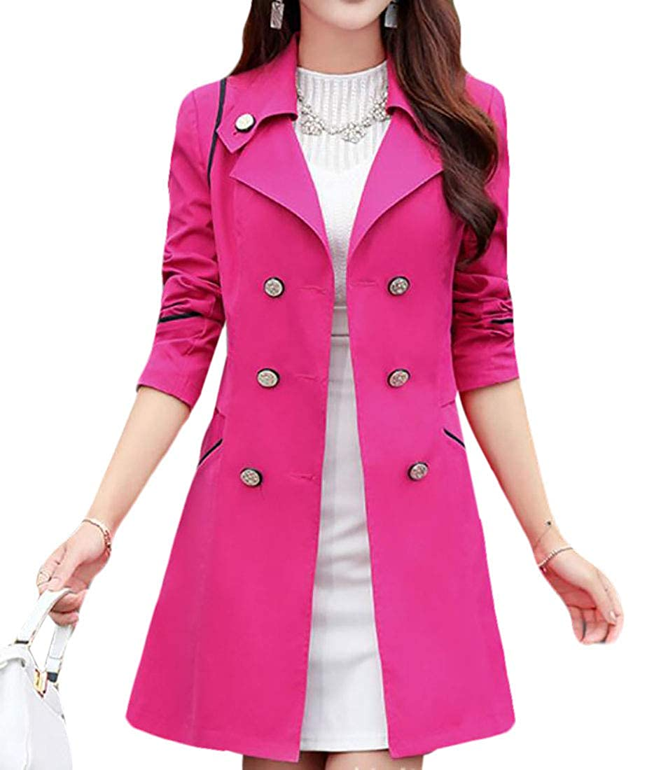 SELX Women Mid-Length Lapel Long Sleeve Slim Trench Coat