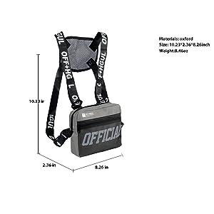 Armiya Universal Hands Free Chest Bag Utility Rig Walkie Talkie Harness Pocket Pack Radio Holster Holder for Men Women (Grey) (Color: grey)