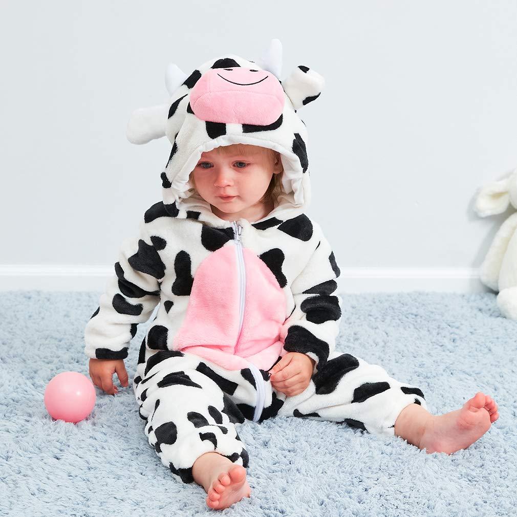 Strampler Neugeborenen Overall Baby Schneeanz/üge Flanell Overalls Animal Style Bodysuits Neugeborenen Unisex Fr/ühling Herbst Winter Outfits f/ür Babys 2-24 Monate