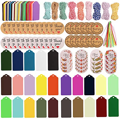 SUBANG 337 Pieces Gift Tags Set Including 250 Pcs 25 Colors Gift Paper Tags, 30 Pcs Ribbons, 9 Pcs Bakers Twine and 48 Pcs Thank You Stickers for Arts and ()