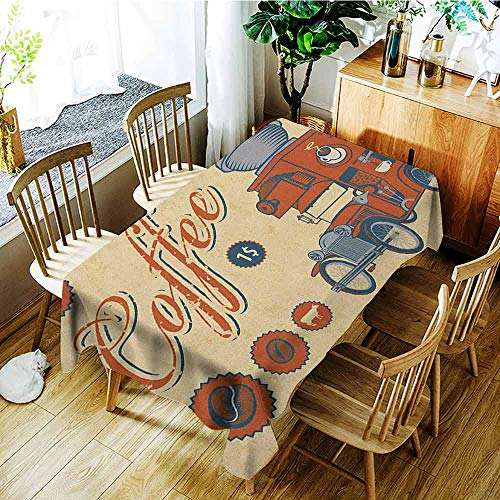 XXANS Waterproof Table Cover,Retro,Artsy Commercial Design of Vintage Truck with Coffee Grinder Old Fashioned,Party Decorations Table Cover Cloth,W60x84L Cream Orange Grey