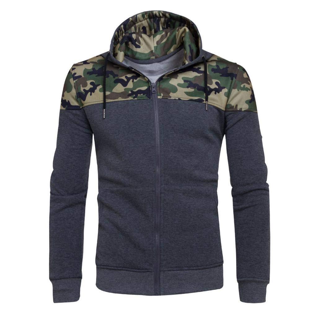 Sharemen Camouflage Hoodies Men's Sports Zipper Slim Sweatshirts Pullover Coat