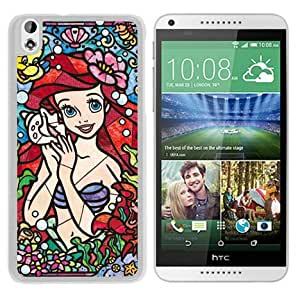 Lovely And Durable Custom Designed Case For HTC Desire 816 With Stained Glass Ariel The Little Mermaid White Phone Case