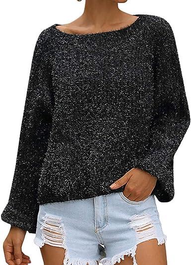 Poacher Jerseys Mujer Invierno Color sólido suéter Calado Camisa de Manga Jersey Mujer Invierno 2019 Jersey Mujer Tallas Grandes Jersey Lana Mujer Cuello Redondo Jersey Mujer otoño Fiesta Casual: Amazon.es: Ropa y