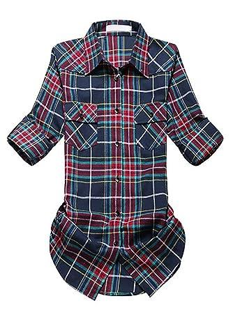 a884693324777 Women s Casual Buffalo Plaid Flannel Shirts Roll Up Long Sleeve   7056-G016