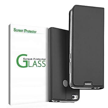 Penlicraft Funda para Huawei P8 Lite 2017,Slim Carcasa con Tapa TPU Interior Case Billetera Carcasa Libro de Cuero Case Vidrio Templado para Huawei P8 ...