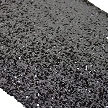 Koyal Wholesale Sequin Table Runner, 13 By 108 Inch, Black