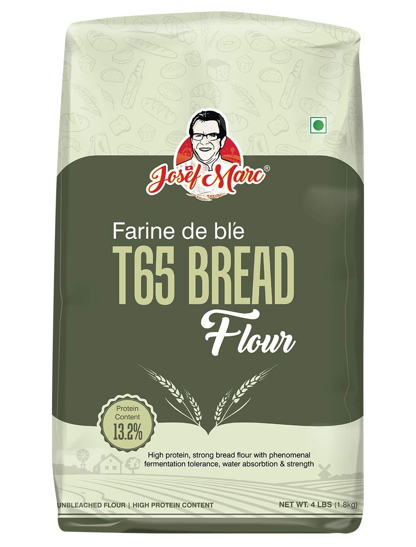 JOSEF MARC Farine De Ble T65 Bread Flour, 4 LBS - Unbleached & High Protein Flour, All Purpose Bread Flour, Strong Bread Flour