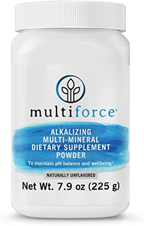 Multiforce Alkaline Powder-Natural Daily pH Balance Supplement. Bioavailable Alkalizing formula to Balance Your pH, Combat Acid Build-Up, Increase Energy, Improve Digestion | 3 Flavors | 30 Day Supply