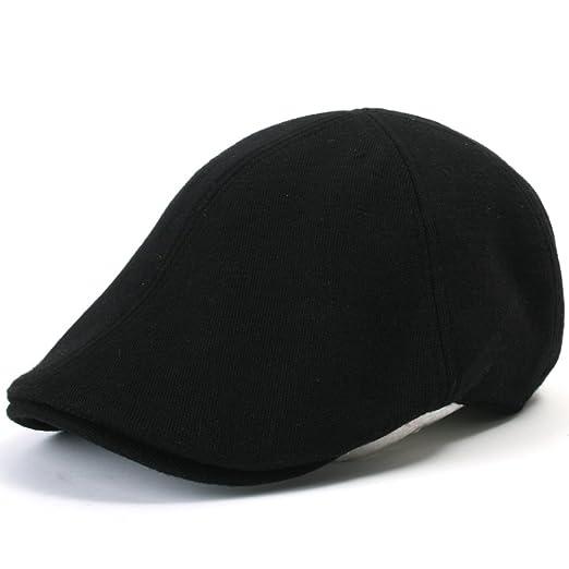 a833d3b02b4 ililily Soft cotton Newsboy Flat Cap Pre-curved ivy stretch-fit Driver  Hunting Hat